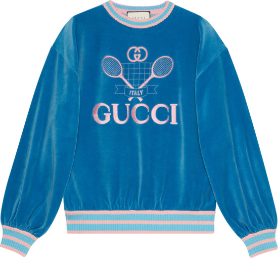 Gucci Blue And Pink Velvet Tennis Sweatshirt