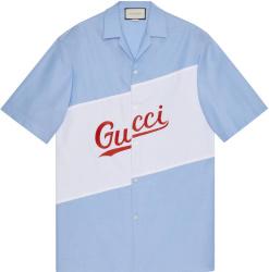 Gucci Blue And White Script Logo Bowling Shirt