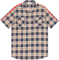 Gucci Blue Check Gg Striped Bowling Shirt