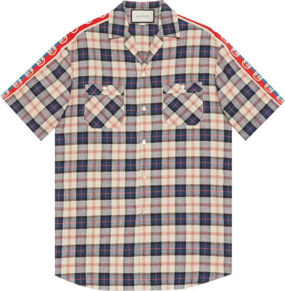 Gucci Blue Check Gg Striped Bowling Shirt