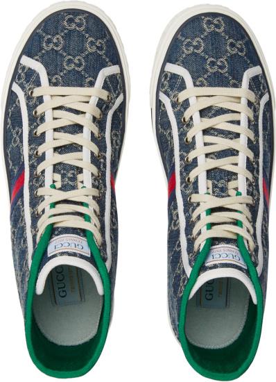 Gucci Blue Denim High Top Sneakes