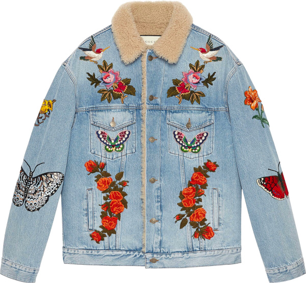 Gucci Blue Denim Shearling Collar Bird Butterfly And Flower Embroidered Jacket