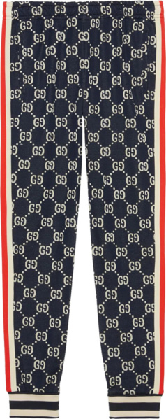Gucci Blue Logo Jacuqard Jogging Pants