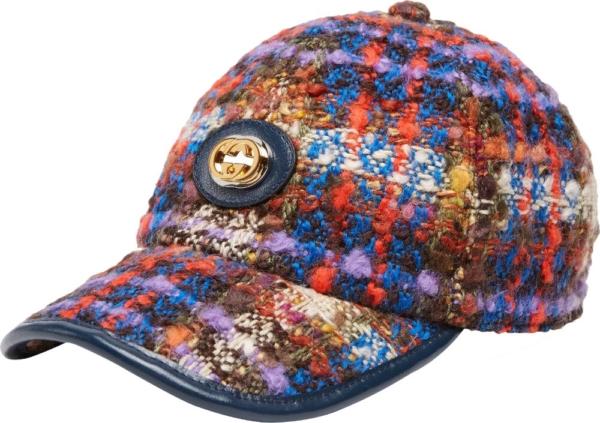 Gucci Blue Orange Check Tweed Hat