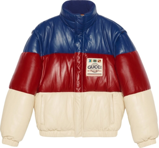 Gucci Blue Red White Striped Puffer Jacket