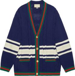 Gucci Blue White Striped Cardigan