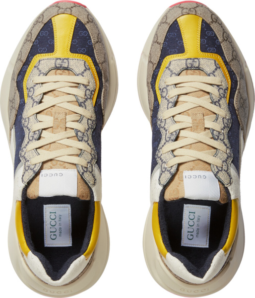 Gucci Blue Yellow Supreme Print Sneakers