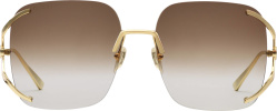 Gucci Brown And Gold Frameless Square Sunglasses