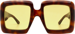 Gucci Brown And Yellow Oversized Sunglasses Gg0783s002