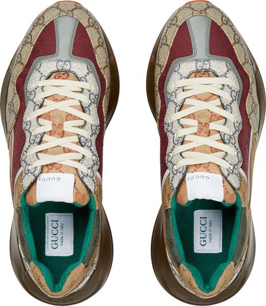 Gucci Brown Biege Red Green Supreme Canvas Sneakers