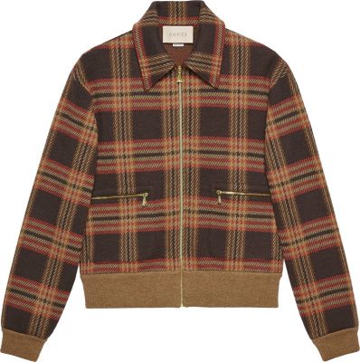 Gucci Brown Check Bomber Jacket 633111 Xjcvf 2229