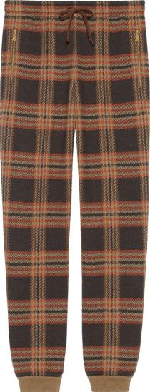 Gucci Brown Check Wool Jogging Pants