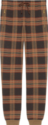 Gucci Brown Check Wool Jogging Pants