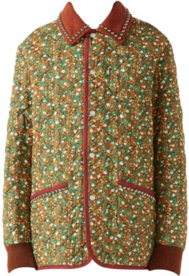 Gucci Brown Green And Orange Floral Print Jacket With Studded Collar And Chateau Marmont Print Back