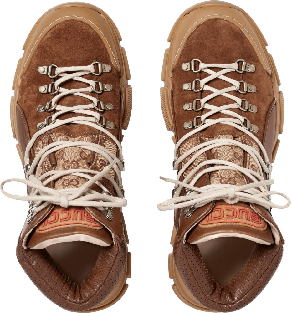 Brown Leather & 'GG' Canvas Hiking Boots