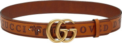 Gucci Brown Leather Gold Gg Loved Belt