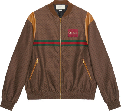Gucci Brown Mini Gg Bomber Jacket