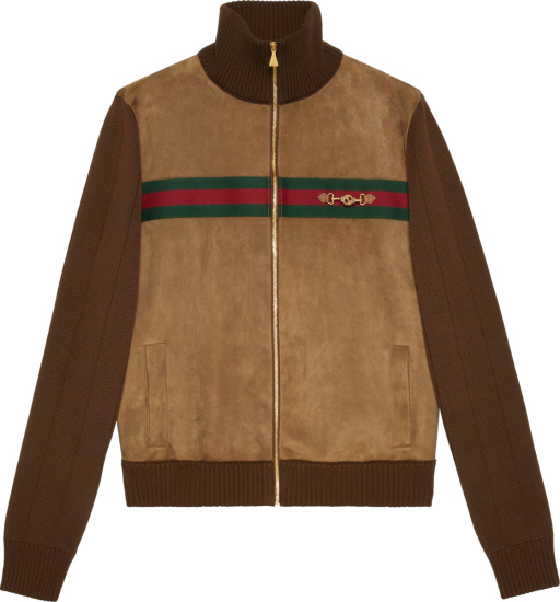 Gucci Brown Suede And Knit Bomber Jacket
