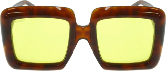 Gucci Brown Tortoise Oversized Square Sunglasses