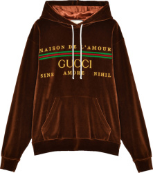 Gucci Brown Velour Logo Embroidered Hoodie