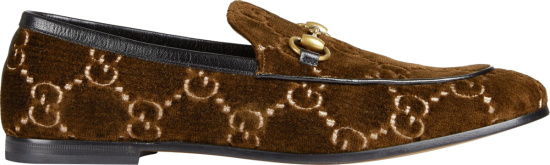 Gucci Brown Velvet Gg Loafers