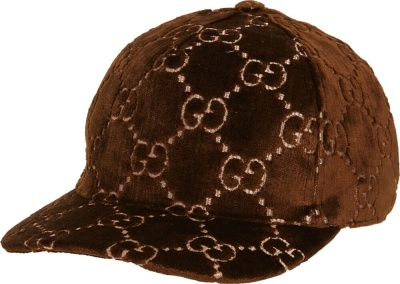 Gucci Brown Velvet Gg Monogram Hat