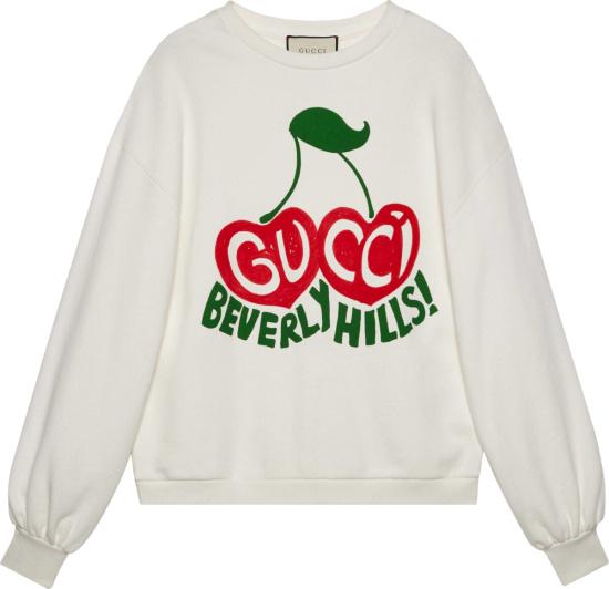 Gucci Cherry Print White Sweatshirt