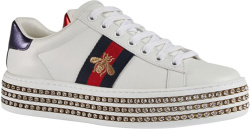 Gucci Crystal Embellished White Platform Sneakers