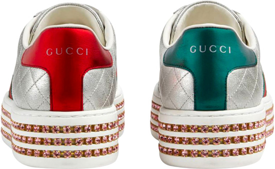 Gucci Crystal Platfrom Silver Sneakers