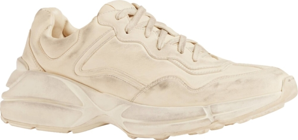 Gucci Distressed White Rhyton Sneakers