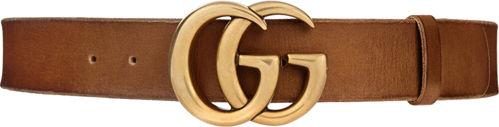 Gucci Double G Brown Leather Belt
