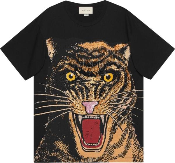 Gucci Embellished Cat Black T Shirt