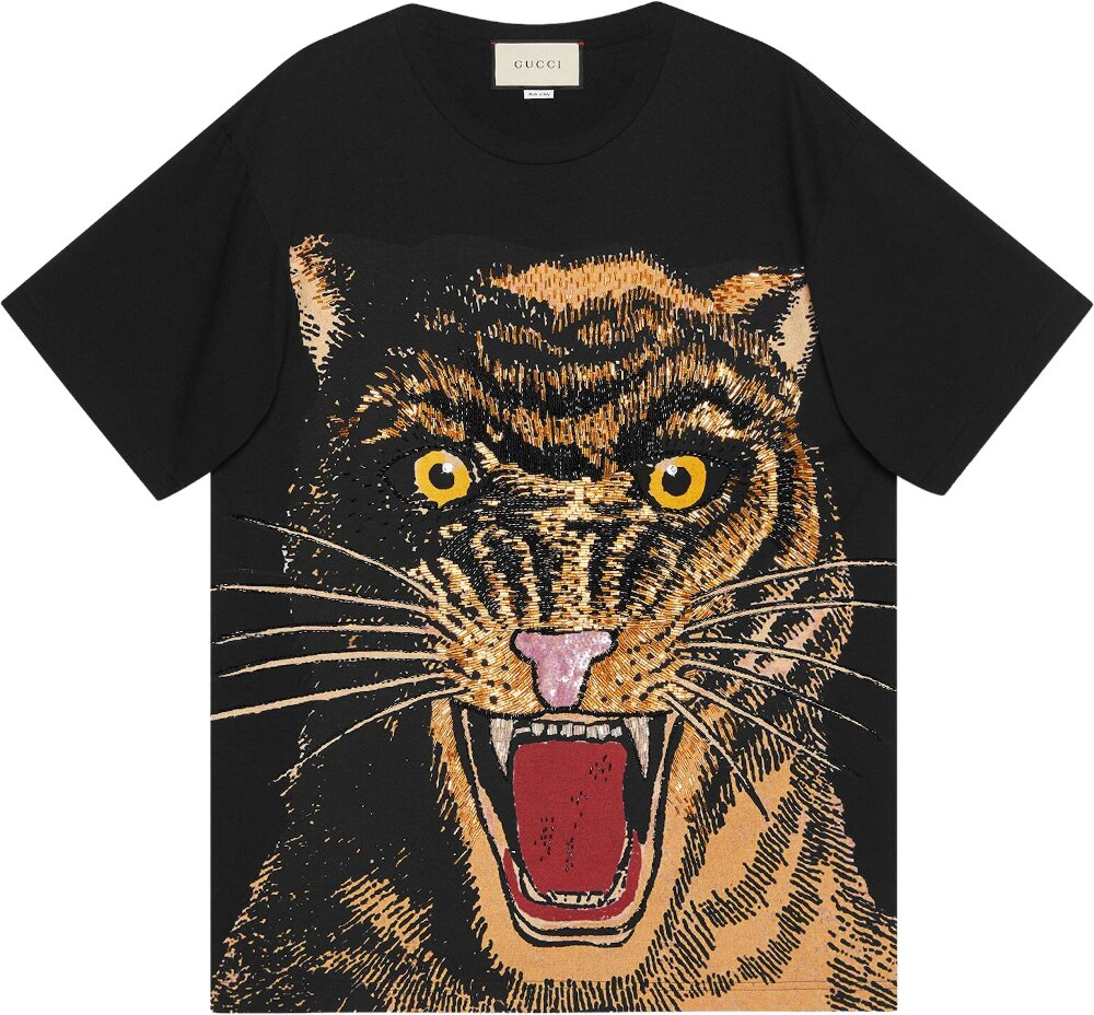 Gucci Embellished Cat Black T Shirt