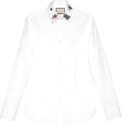 Gucci Embroidered Collar White Oxford Shirt