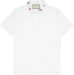 Gucci Embroidered Collar White Polo