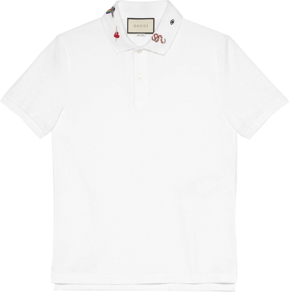 Gucci Embroidered Collar White Polo