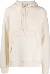 Tennis Embroidered White Hoodie