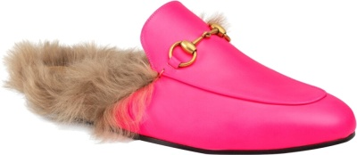 Gucci Flourscent Pink Fur Loafers
