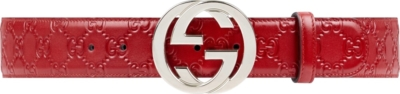 Gucci Gg Buckle Embossed Red Leather Belt