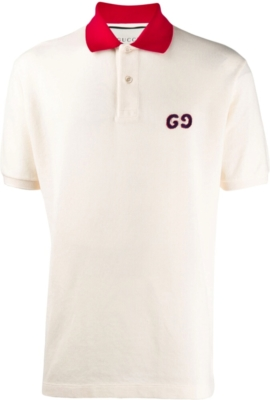 Gucci Gg Embroidered Ivory Polo Shirt