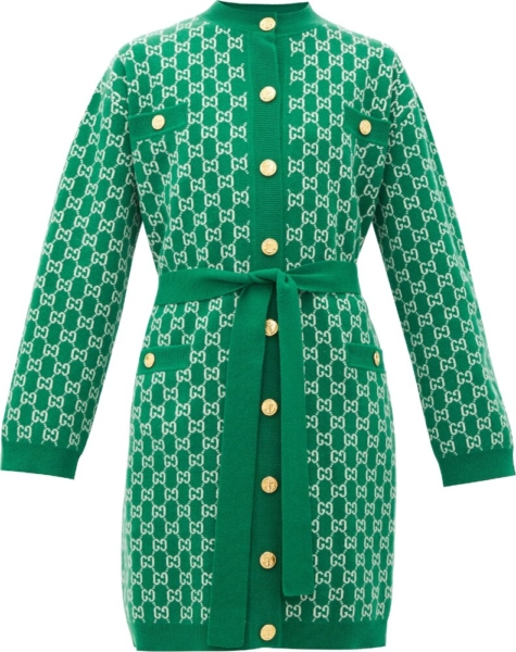 Gucci Gg Jacquard Green Wool Robe