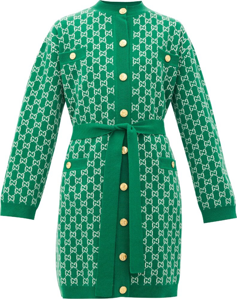 Gucci Gg Jacquard Green Wool Robe