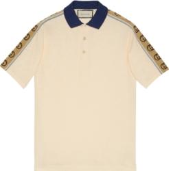 Side-Stripe & Navy Collar Ivory Polo