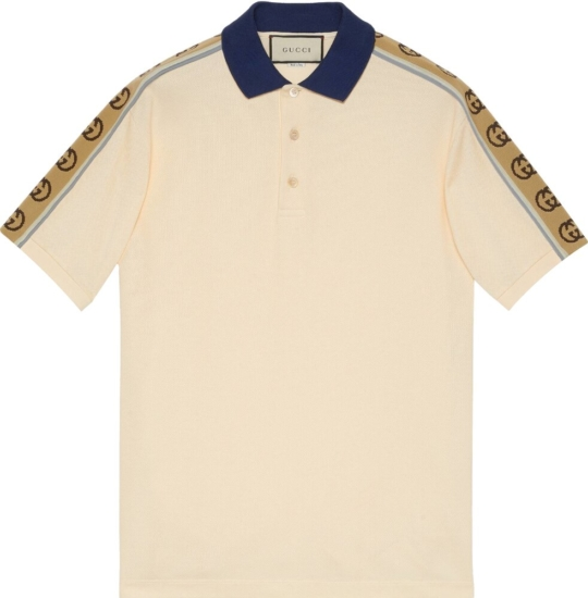 Gucci Gg Side Stripe Ivory Polo Shirt