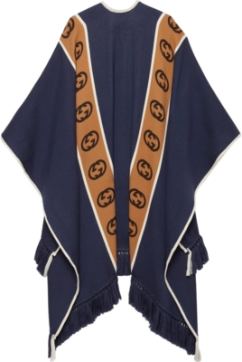 Gucci Gg Stripe Blue Poncho