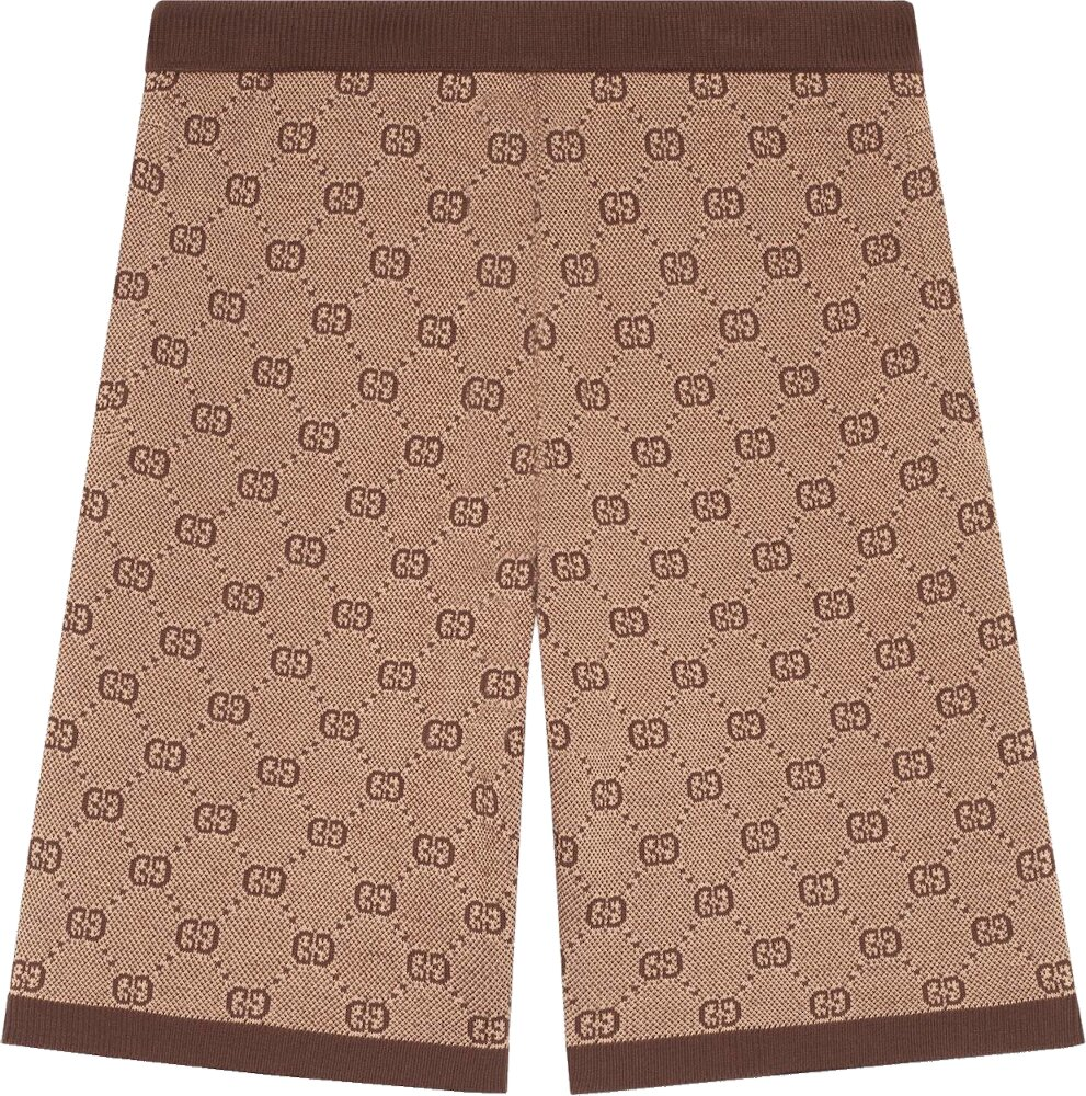 Brown 'GG' Jacquard Knit Shorts