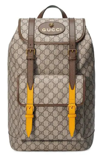 Gucci Gg Supreme Leather Backpack With Yellow Leather Straps Worn By Blueface