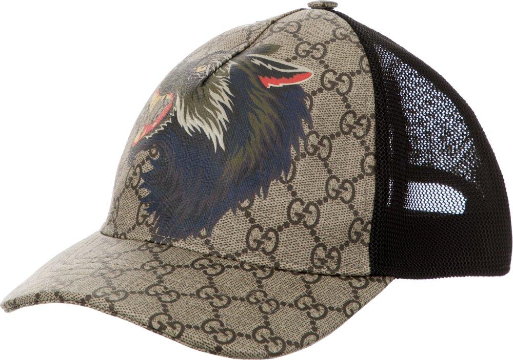 Wolf Print GG Supreme Beige Hat