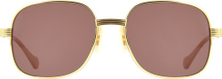 Gold & Brown Square Sunglasses (GG0788S)