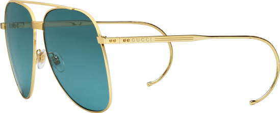 Gucci Gold And Blue Oversized Aviator Sunglasses